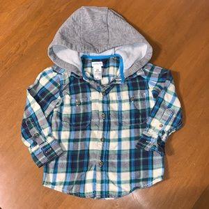 Carter's Hooded Plaid Flannel Shirt Jacket 2T EUC